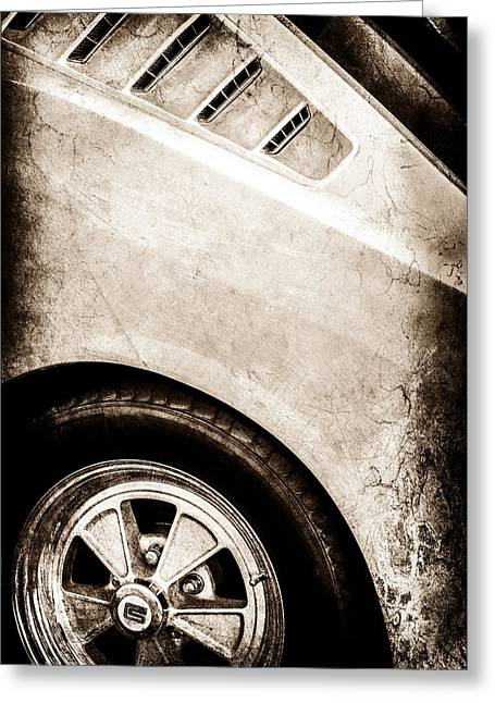 Mustang Gt350 Greeting Cards - 1965 Shelby Mustang GT350 Emblem -0822s Greeting Card by Jill Reger