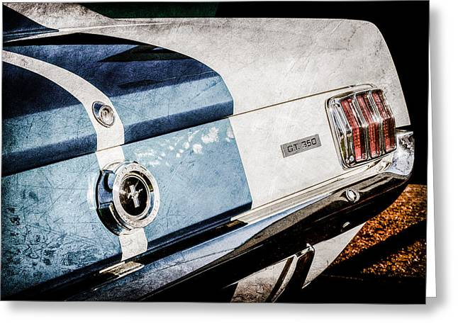 Mustang Gt350 Greeting Cards - 1965 Shelby Mustang GT350 Taillight Emblem -0809ac Greeting Card by Jill Reger