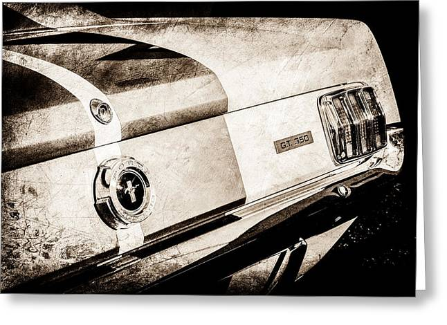 Mustang Gt350 Greeting Cards - 1965 Shelby Mustang GT350 Taillight Emblem -0809s Greeting Card by Jill Reger