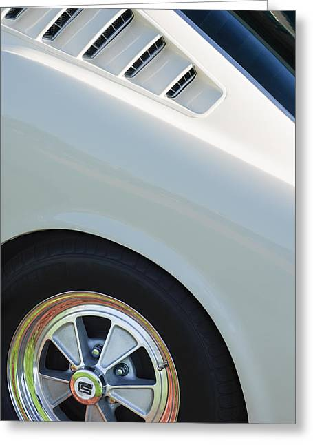 Mustang Gt350 Greeting Cards - 1965 Shelby Mustang GT350 Wheel Emblem Greeting Card by Jill Reger