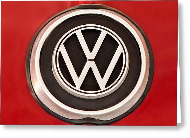 Ghia Greeting Cards - 1965 Volkswagen VW Karmann Ghia Emblem Greeting Card by Jill Reger