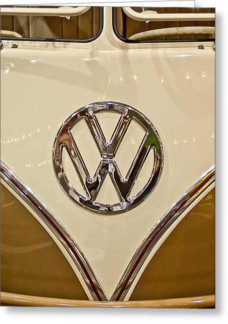 1965 Volkswagen Vw Samba Bus Emblem Greeting Card by Jill Reger