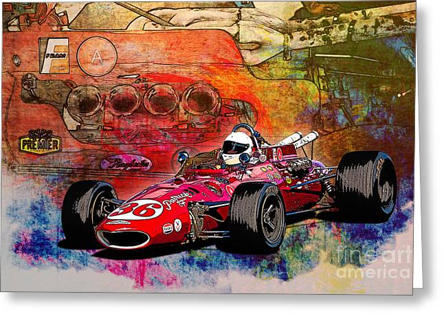 Indy Car Greeting Cards - 1966 9 Eagle Indy Greeting Card by Stuart Row