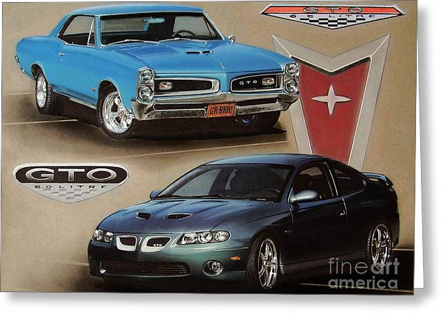 Goat Drawings Greeting Cards - 1966 and 2006 Pontiac GTOs Greeting Card by Paul Kuras