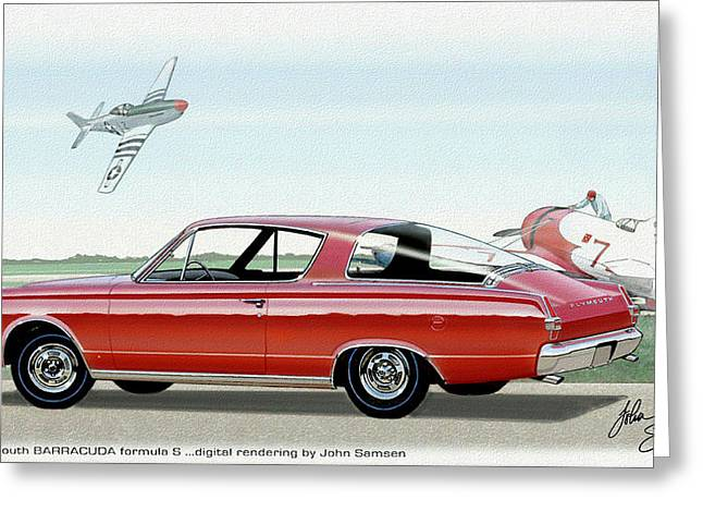 Valiant Greeting Cards - 1966 BARRACUDA  classic Plymouth muscle car sketch rendering Greeting Card by John Samsen