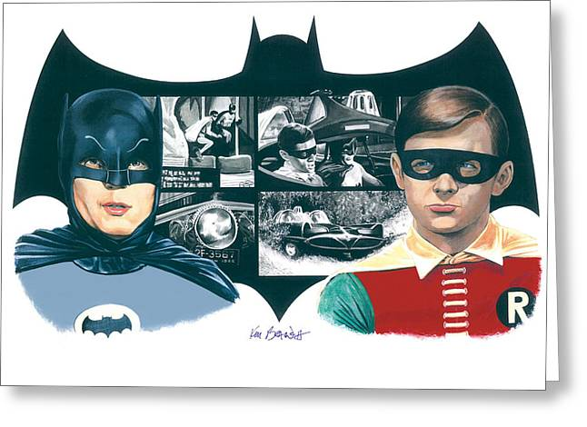 Batman Mixed Media Greeting Cards - 1966 Batman and Robin Greeting Card by Ken Branch