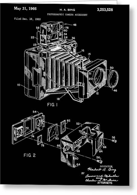 Sensors Greeting Cards - 1966 Camera Patent Greeting Card by Dan Sproul