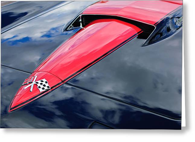 Famous Photographer Greeting Cards - 1966 Chevrolet Corvette Hood Emblem Greeting Card by Jill Reger