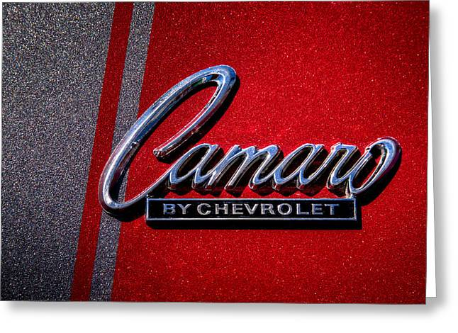 Recently Sold -  - Collector Hood Ornament Greeting Cards - 1966 Chevy Camaro Greeting Card by David Patterson