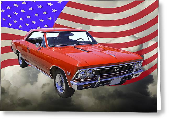 American Automobiles Greeting Cards - 1966 Chevy Chevelle SS 396 and United States Flag Greeting Card by Keith Webber Jr