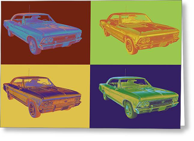 Polish American Art Greeting Cards - 1966 Chevy Chevelle SS 396 Car Pop Art Greeting Card by Keith Webber Jr