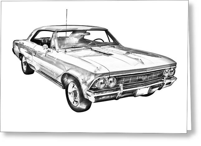 American Automobiles Greeting Cards - 1966 Chevy Chevelle SS 396 Illustration Greeting Card by Keith Webber Jr