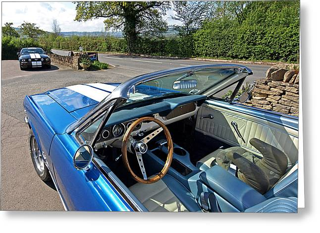 Interior Scene Photographs Greeting Cards - 1966 Convertible Mustang on Tour in the Cotswolds Greeting Card by Gill Billington