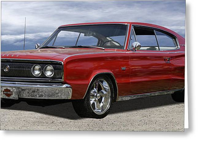 Art Product Greeting Cards - 1966 Dodge Charger Greeting Card by Mike McGlothlen