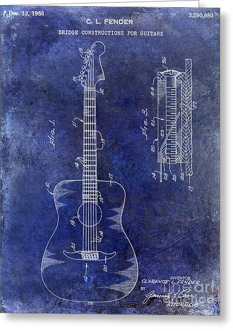 Vintage Guitars Greeting Cards - 1966 Fender Acoustic Guitar Patent Drawing Blue Greeting Card by Jon Neidert
