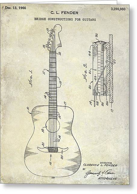 Ohs Greeting Cards - 1966 Fender Acoustic Guitar Patent Greeting Card by Jon Neidert