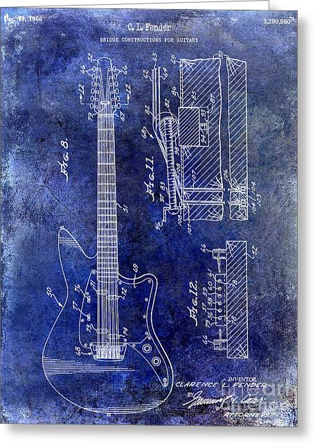 Ohs Greeting Cards - 1966 Fender Guitar Patent Drawing Blue Greeting Card by Jon Neidert
