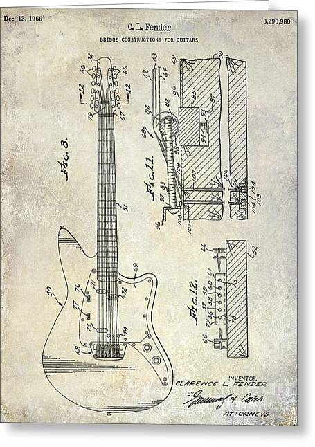 Ohs Greeting Cards - 1966 Fender Guitar Patent Drawing  Greeting Card by Jon Neidert