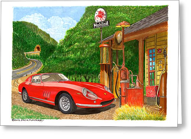 Signed Drawings Greeting Cards - 1966 Ferrari 275 G B T getting gas Greeting Card by Jack Pumphrey