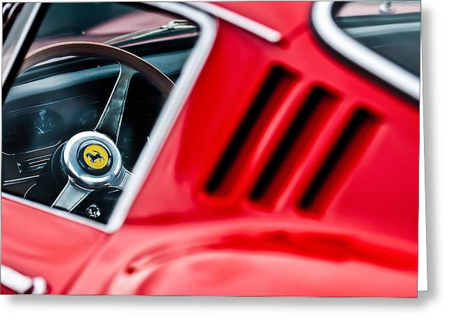 Steering Wheel Greeting Cards - 1966 Ferrari 275 Gtb Steering Wheel Emblem -0563c Greeting Card by Jill Reger