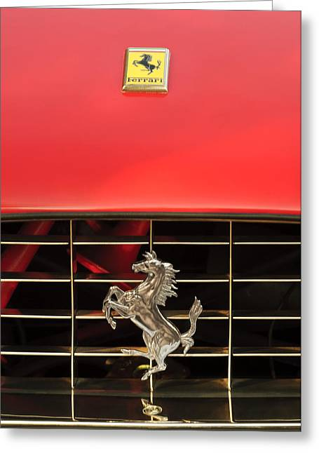 1966 Ferrari 330 Gtc Coupe Hood Ornament Greeting Card by Jill Reger