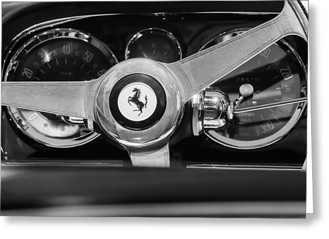 Steering Greeting Cards - 1966 Ferrari 330 GTC Steering Wheel Emblem  Greeting Card by Jill Reger