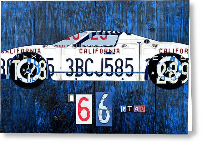 Road Trip Greeting Cards - 1966 Ford GT40 License Plate Art by Design Turnpike Greeting Card by Design Turnpike