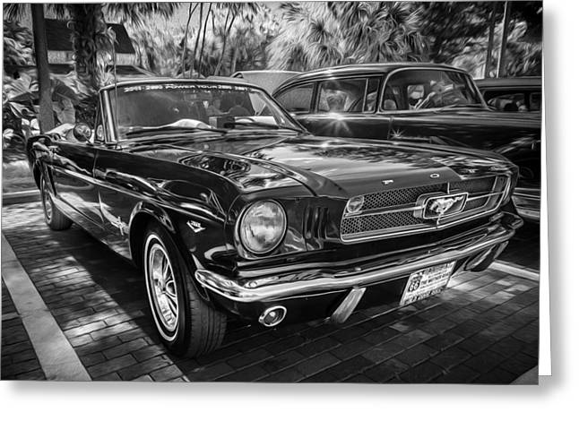 Detroit Cars Greeting Cards - 1966 Ford Mustang Convertible Painted BW    Greeting Card by Rich Franco