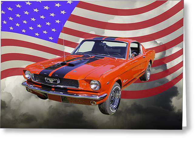 Horse Power Greeting Cards - 1966 Ford Mustang Fastback and American Flag Greeting Card by Keith Webber Jr