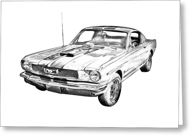 Pony Greeting Cards - 1966 Ford Mustang Fastback Illustration Greeting Card by Keith Webber Jr
