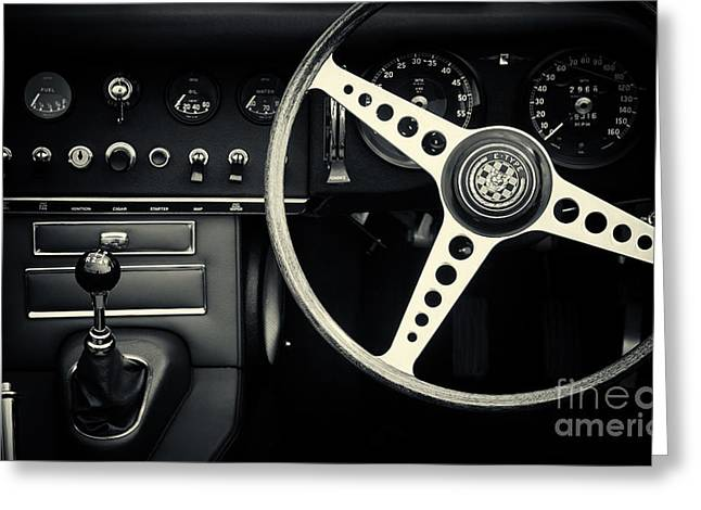 English Car Greeting Cards - 1966 Jaguar E Type Interior  Greeting Card by Tim Gainey