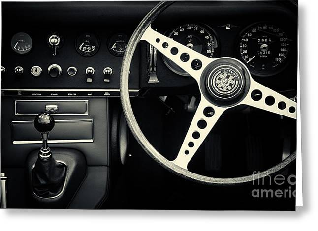 1966 Jaguar E Type Interior  Greeting Card by Tim Gainey