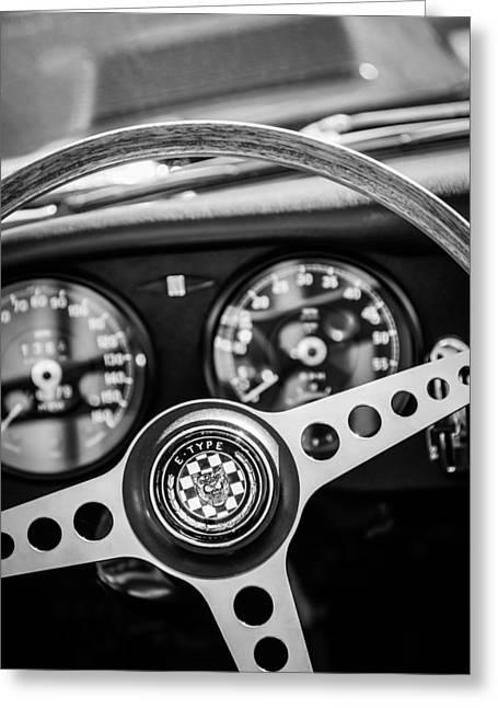 E Black Greeting Cards - 1966 Jaguar XK-E Steering Wheel Emblem -2489bw Greeting Card by Jill Reger