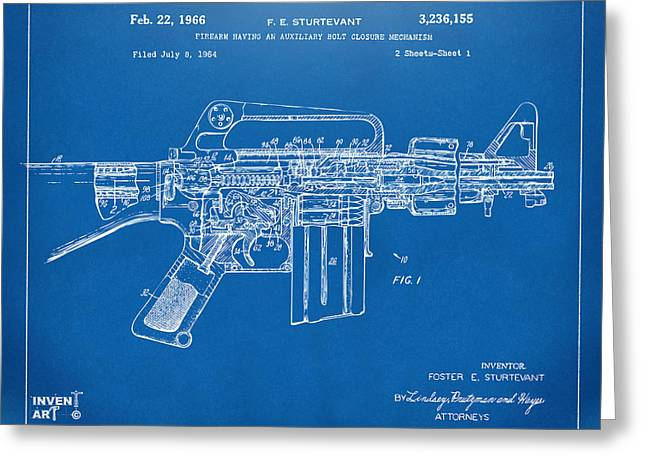 Conversations Greeting Cards - 1966 M-16 Gun Patent Blueprint Greeting Card by Nikki Marie Smith