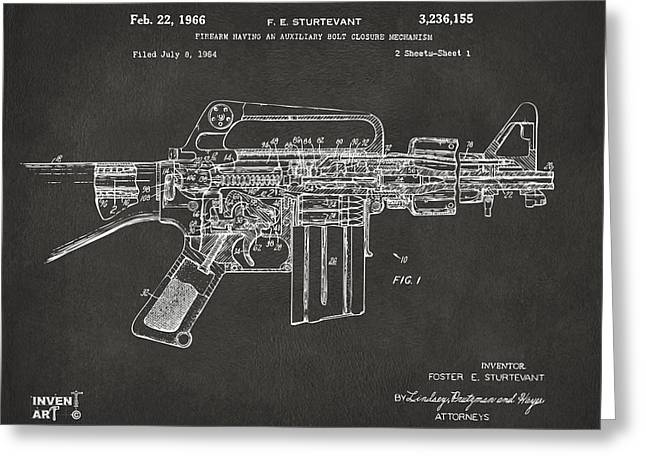 Schematic Greeting Cards - 1966 M-16 Gun Patent Gray Greeting Card by Nikki Marie Smith