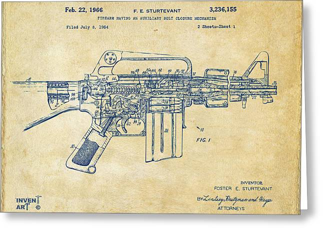 Patent Artwork Greeting Cards - 1966 M-16 Gun Patent Vintage Greeting Card by Nikki Marie Smith