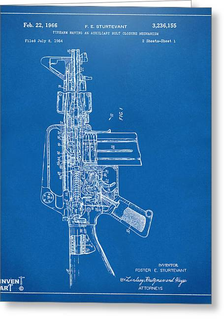 Modern Warfare Greeting Cards - 1966 M-16 Rifle Patent Blueprint Greeting Card by Nikki Marie Smith