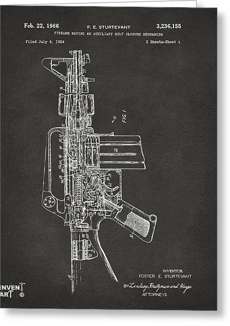 Modern Warfare Greeting Cards - 1966 M-16 Rifle Patent Gray Greeting Card by Nikki Marie Smith
