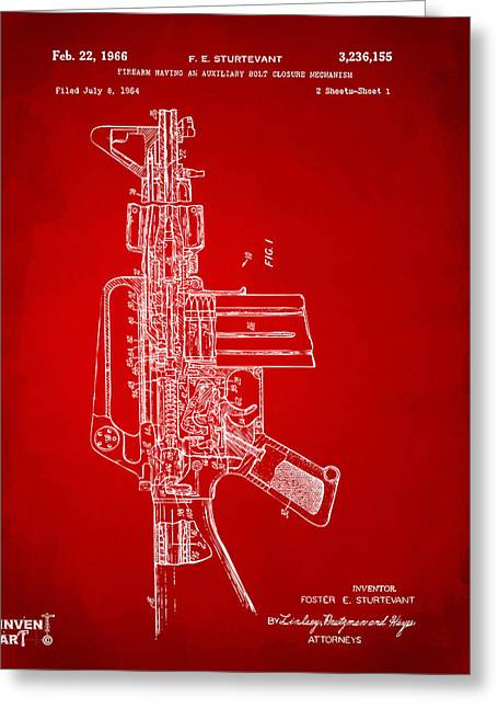Modern Warfare Greeting Cards - 1966 M-16 Rifle Patent Red Greeting Card by Nikki Marie Smith