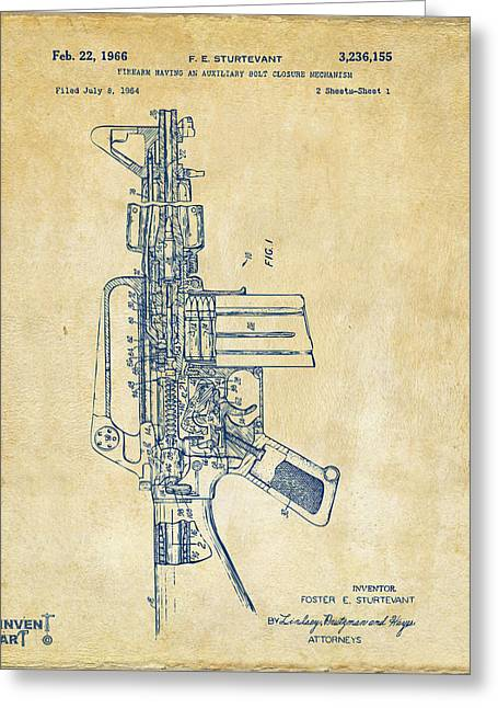Modern Warfare Greeting Cards - 1966 M-16 Rifle Patent Vintage Greeting Card by Nikki Marie Smith