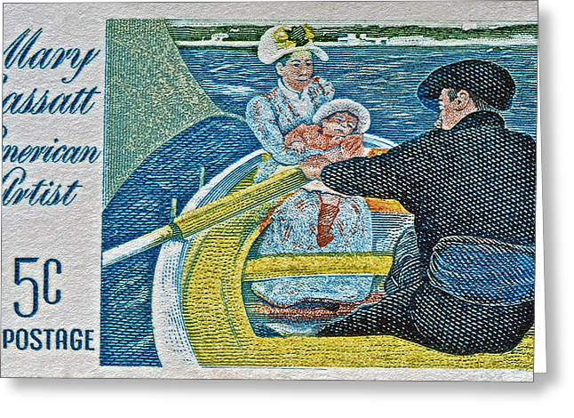 Cassatt Photographs Greeting Cards - 1966 Mary Cassatt Stamp Greeting Card by Bill Owen