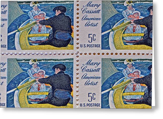 Cassatt Photographs Greeting Cards - 1966 Mary Cassatt Stamp Collage Greeting Card by Bill Owen