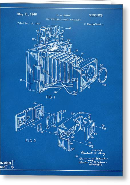 Camera Greeting Cards - 1966 Photographic Camera Accessory Patent Blueprint Greeting Card by Nikki Marie Smith