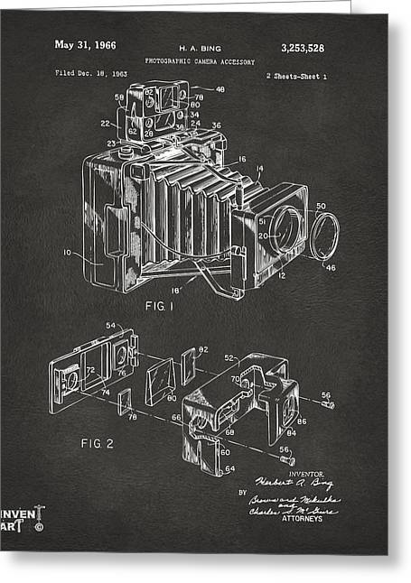 Camera Greeting Cards - 1966 Photographic Camera Accessory Patent Gray Greeting Card by Nikki Marie Smith
