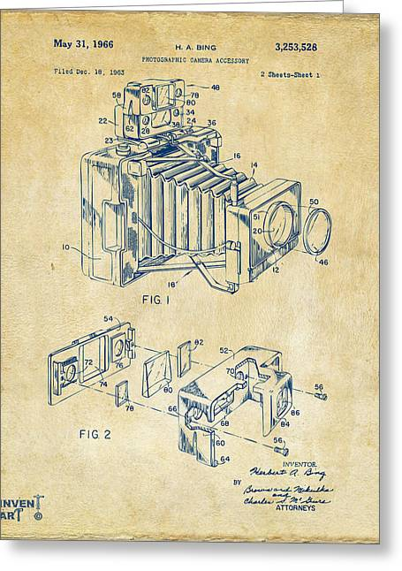 Camera Greeting Cards - 1966 Photographic Camera Accessory Patent Vintage Greeting Card by Nikki Marie Smith