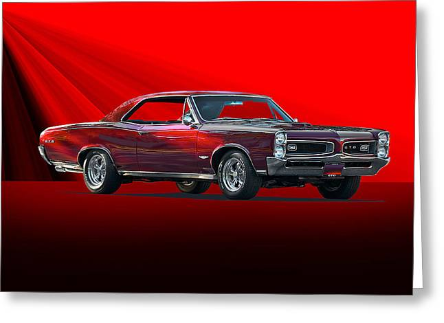 Tri-motor Greeting Cards - 1966 Pontiac GTO 389 Tri-Power Greeting Card by Dave Koontz