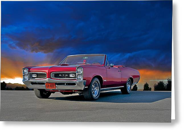 American Automobiles Greeting Cards - 1966 Pontiac GTO Convertible I Greeting Card by Dave Koontz