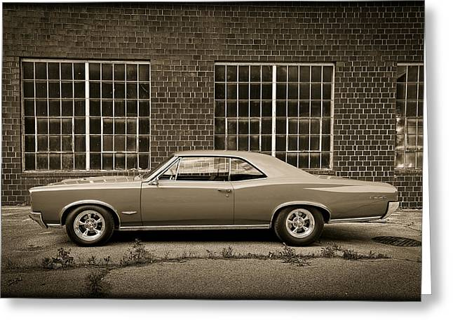 Pontiac Motors Division Greeting Cards - 1966 Pontiac GTO Muscle Car in Sepia Monotone E40 Greeting Card by Wendell Franks