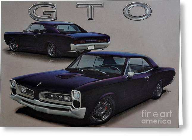 Plum Drawings Greeting Cards - 1966 Pontiac GTO Greeting Card by Paul Kuras