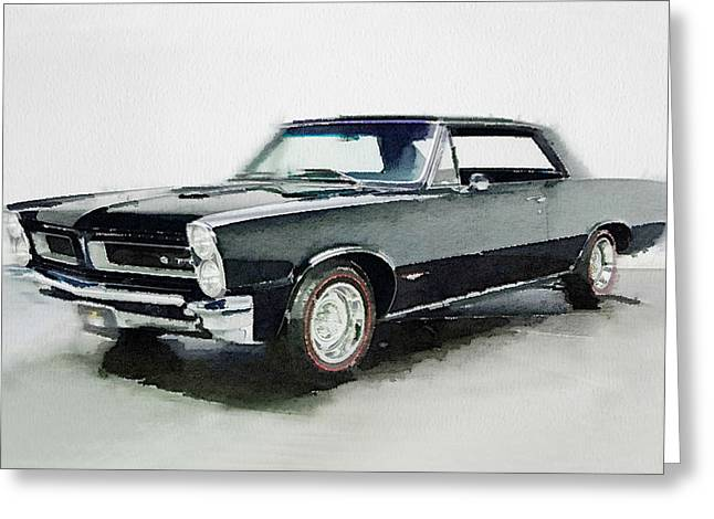 Pontiac Gto Greeting Cards - 1966 Pontiac GTO Watercolor Greeting Card by Naxart Studio